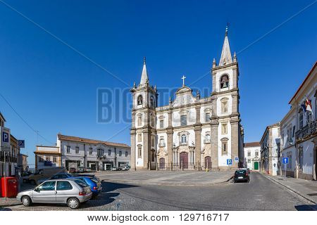 Panorama of the Portalegre Cathedral, or Se de Portalegre, Portugal. Mannerist and Baroque styles.