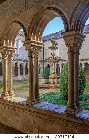 Cloister detail of the S. Bento monastery in Santo Tirso, Portugal. Benedictine order. Built in the Gothic (cloister) and Baroque (church) style.