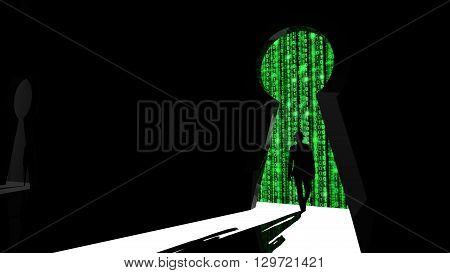 Elite hacker entering a room through a keyhole silhouette 3d illustration information security backdoor concept with green digital background matrix
