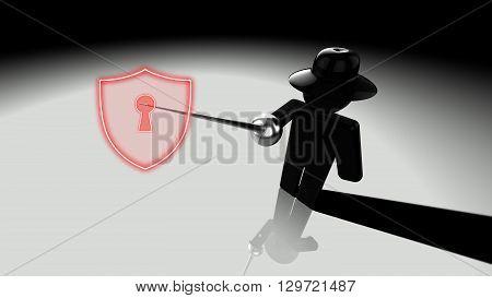 Black hat hacker piercing shield with a rapier showing cracks 3D illustration security breach concept