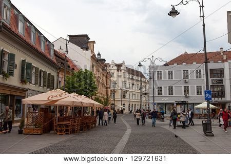 Sibiu, Romania, May 4, 2016:Sibiu's old city center, Sibiu is a city in Transylvania, Romania, located north-west of Bucharest and is one of the most important cultural centres of Romania.
