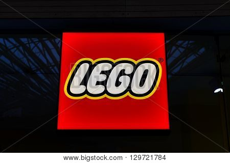 Bucharest, Romania, May 3, 2016: Lego neon sign. Lego is a line of plastic construction toys that are manufactured by The Lego Group, a privately held company based in Billund, Denmark.