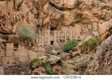 A 12th century grain store or agadir at the Berber village of Tizgui in the Anti-Atlas mountains of Morocco.