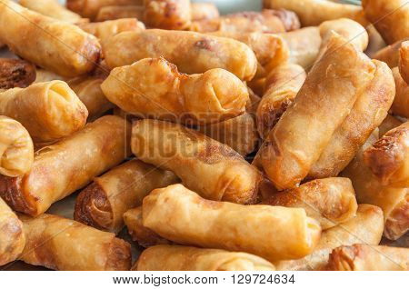 The Group Of Spring Roll As Background
