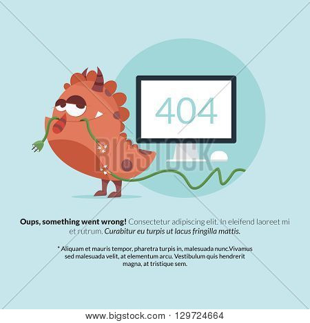 The classic 404 error 'not found' message represented by a monster eating a cable.
