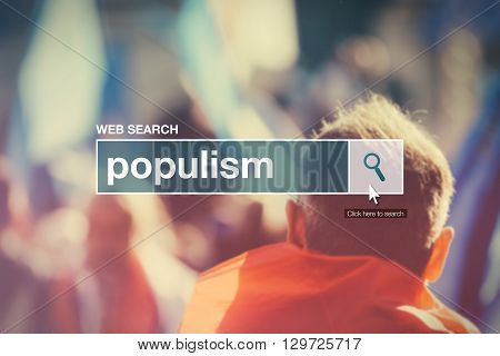 Web search bar glossary term - populism definition in internet glossary.