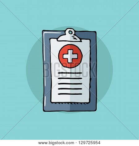 Medical report. First aid, diagnostic. Hand drawn vector illustration.