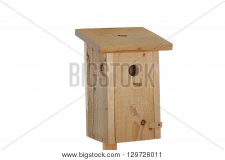 handmade wooden bird- house on white background