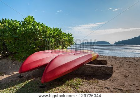 Two Red-yellow Kayak Turn On The Beach Near Sea