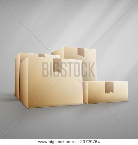 Brown carton delivery packaging box isolated on white background vector illustration icon.  For web, banner, infographic.