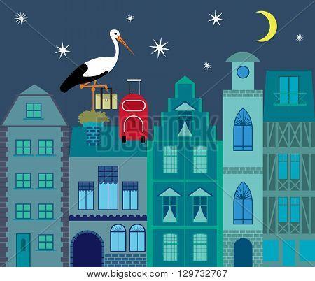 Stork preparing to migrate flat design illustration