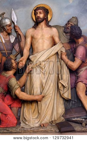 ZAGREB, CROATIA - SEPTEMBER 14: 10th Stations of the Cross, Jesus is stripped of His garments, Basilica of the Sacred Heart of Jesus in Zagreb, Croatia on September 14, 2015