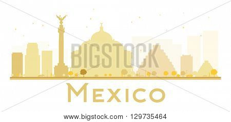 Mexico City skyline golden silhouette. Vector illustration. Simple flat concept for tourism presentation, banner, placard or web site. Business travel concept. Mexico isolated on white background
