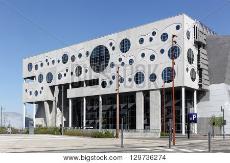 Aalborg, Denmark - May 8, 2016: The House of Music called Musikkens Hus in danish is a venue in Aalborg, Denmark. Opened in March 2014, the building contains a concert hall and practice rooms