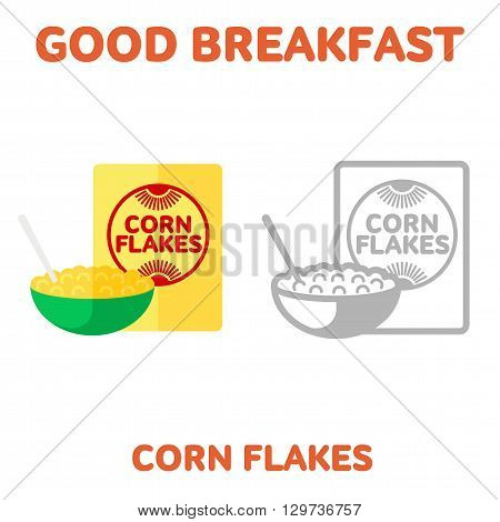Vector flat and line icon packing box cereal and a bowl of cereal and milk. Good and healthy breakfast diet food. Web design web icon food menu. Isolated on a white background