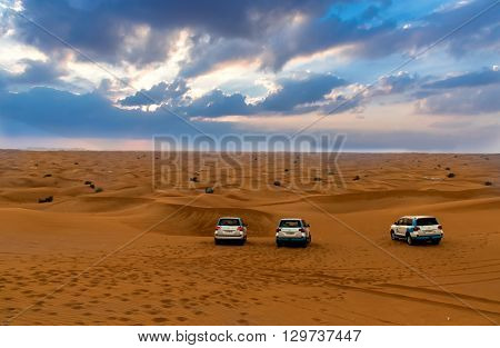 DUBAI UAE - FEBRUARY 01: Desert safari in Dubai United Arab Emirates. Dune bashing by a 4x4 car is a very popular activity.