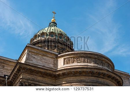 Kazan Cathedral -Cathedral of the Kazan Icon of the Mother of God-. Saint Petersburg Russia. Dome closeup.