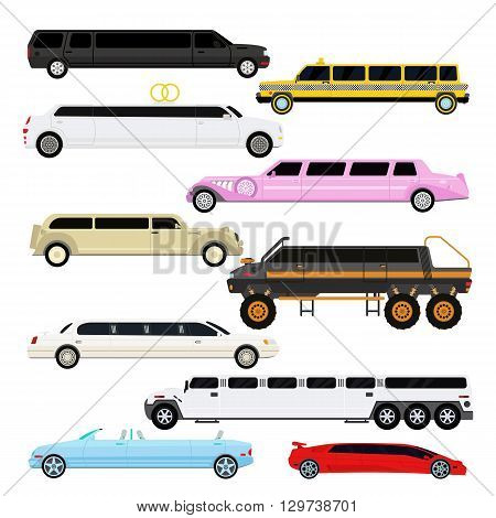 Detailed vector luxury limousine car set and limousine black long car. Vector limousine. Illustration limousine detailed and luxury limousine car. White and color limousine long business car design.