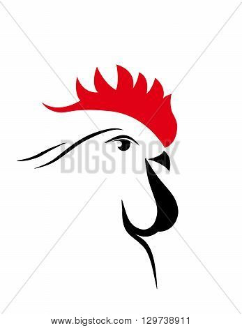abstract big black and red  cock 2017. new year. vector. isolated