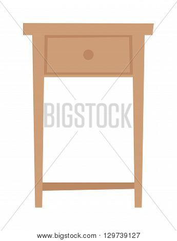 Bedside nightstand and wooden nightstand. Classic contemporary nightstand decoration stand living apartment. Nightstand bedside table household furniture and interior design bedroom flat vector.