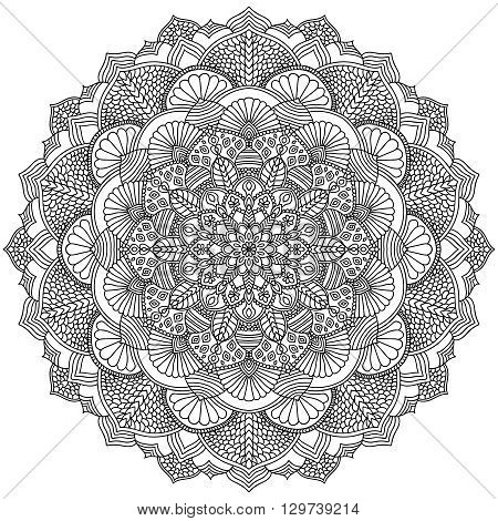 Intricate Black Mandala for Coloring. Line mandala isolated on white background. Outline mandala for coloring page. Intricate mandala design. Vector mandala.