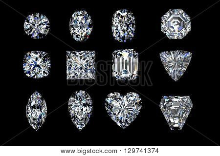 Diamond shapes on a Black background. 3d illustration