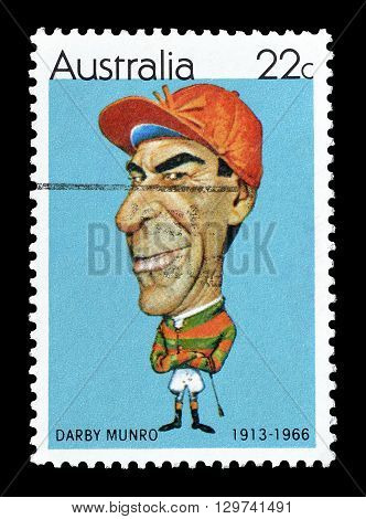 AUSTRALIA - CIRCA 1981 : Cancelled postage stamp printed by Australia, that shows Darby Munro.