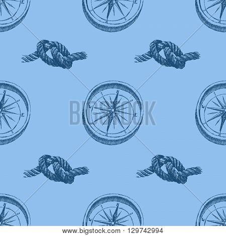 Vintage brass compass with nodes. Seamless background pattern. Hand drawn illustration
