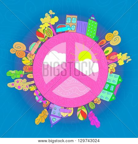 peaceful bright planet peaceful city vector illustration