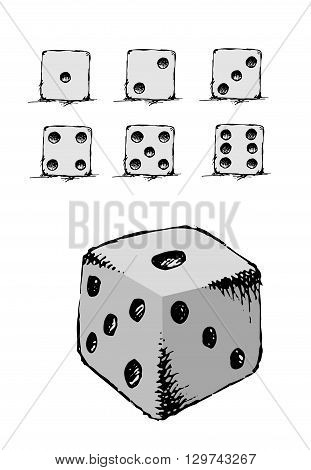 Game dice set. Luck, success. Hand drawn vector stock illustration. Isolated on white background