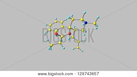 Allylprodine is an opioid analgesic that is an analog of prodine. 3d illustration