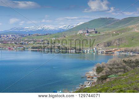 Beautiful blue Sevan lake in Armenia country.