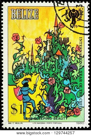MOSCOW RUSSIA - MAY 14 2016: A stamp printed in Belize shows Prince before the abandoned castle - scene from a fairy tale