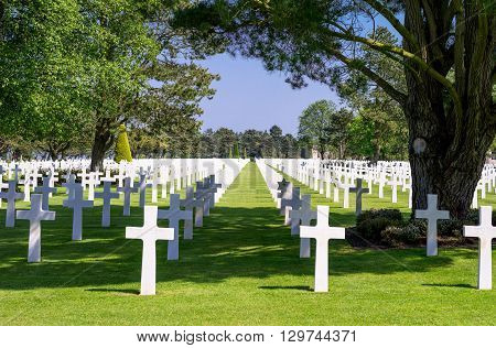 Colleville Sur Mer France - May 23 2012: Normandy  the American Cemetery of the second World War.