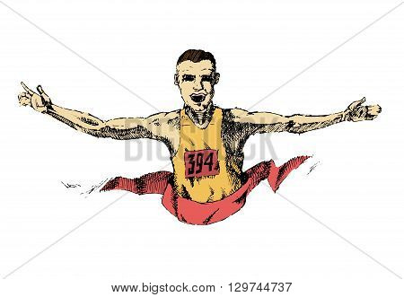 Winning athlete crosses the finish line. Marathon win. White male. Hand drawn colorful vector stock illustraton