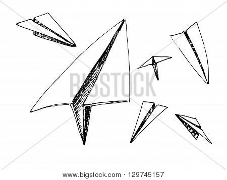Paper planes set. Black and white vector stock illustration. Isolated on white background