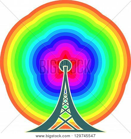 Wi Fi Symbol with star icon as rainbow radio waves emitter. Mobile gadgets technology relative image
