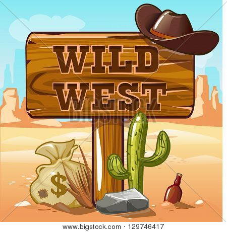 Wild West computer game background . Cowboy objects