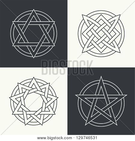 Set of the ancient symbols executed in linear style concluded in a circle. Stars and charms of people of the world. Concept of the universe and spiritual life. Esoteric signs of evolution of the person.