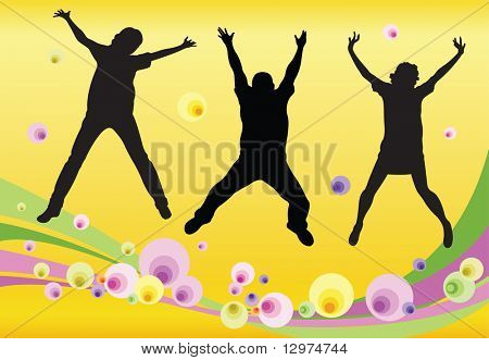 jumping friends floral vector