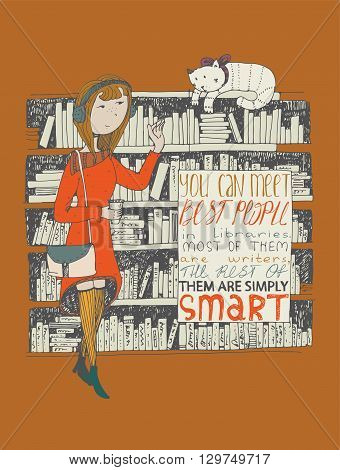 Girl and cat meeting in a library. Vector hand drawn illustration made with black ink on terracotta background with simple motivating educational lettering quote perfect for a bookstore or library.