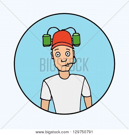 Fan with beer helmet. Sport, baseball, football, soccer. Hand drawn colorful vector stock illustration