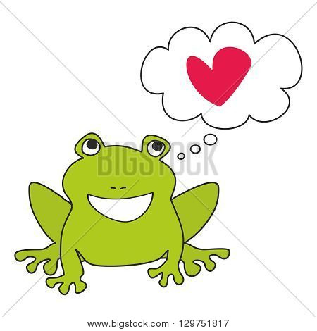 Green frog dreaming about love vector illustration