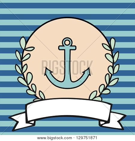 Nautical vector card or sailor invitation with anchor, pastel background and blue stripes