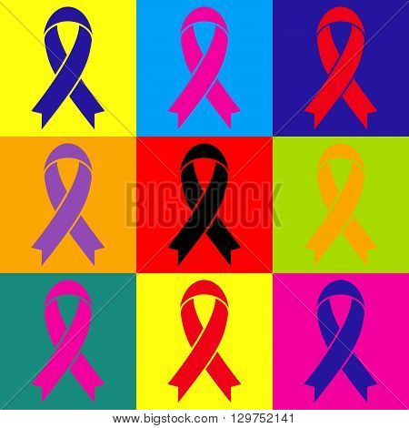 Black awareness ribbon sign. Pop-art style colorful icons set.