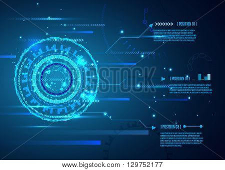 Futuristic interface, HUD,  Abstract futuristic circuit board, hi-tech computer digital technology concept, vector background.