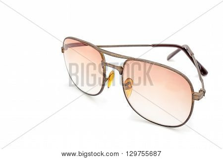 Selective focus, Old soft light glasses on white background with place your text