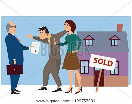 Conflict over real estate sell and eviction. Businessman present documents to an angry couple, a house with a