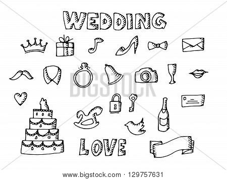 Wedding set illustration. Isolated on white background. Vector icons