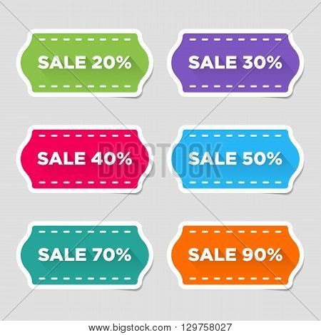 The Collection, Kit, Set Of Different Colored Discount Stickers.